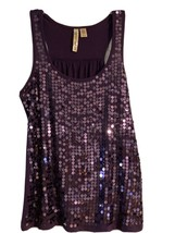 Eyeshadow sleeveless sequins Purple shirt large - $20.74
