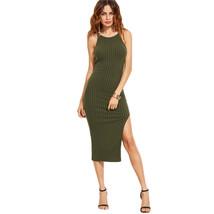 Women Dress Autumn Women Fall Fashion Designer Side Slit Ribbed Cami Dress - $23.99