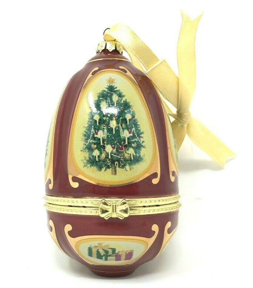 Mr Christmas Valerie Parr Hill Porcelain Musical Egg Ornament Xmas Tree SeeVideo - $18.04