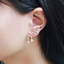 Alloy Artificial Crystal Water Drops Leaves Tassel Earrings Woman Elegan... - $7.12