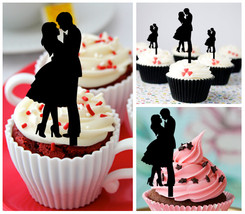 Wedding,Birthday Cupcake topper,silhouette Kissing Married and Couple : 10 pcs - $10.00