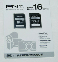 PNY 16GB 2-Pack Performance Class 4 SD Card NEW P-SDHC16G4X2-GE - $37.49