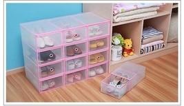 4Pcs Shoe Storage Box Drawer Wrapped Plastic Transparent Organizer Tidy Bin Home - $34.99