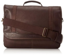 """Samsonite Leather Flapover Briefcase with 15.6"""" Laptop Pocket Brown 4773... - $168.29"""