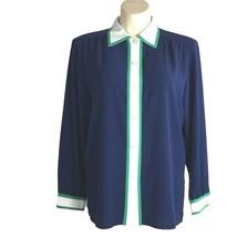 VTG 16 XL Womens Blouse Top DA RUE CALIFORNIA Navy Blue White Kelly Gree... - $22.95