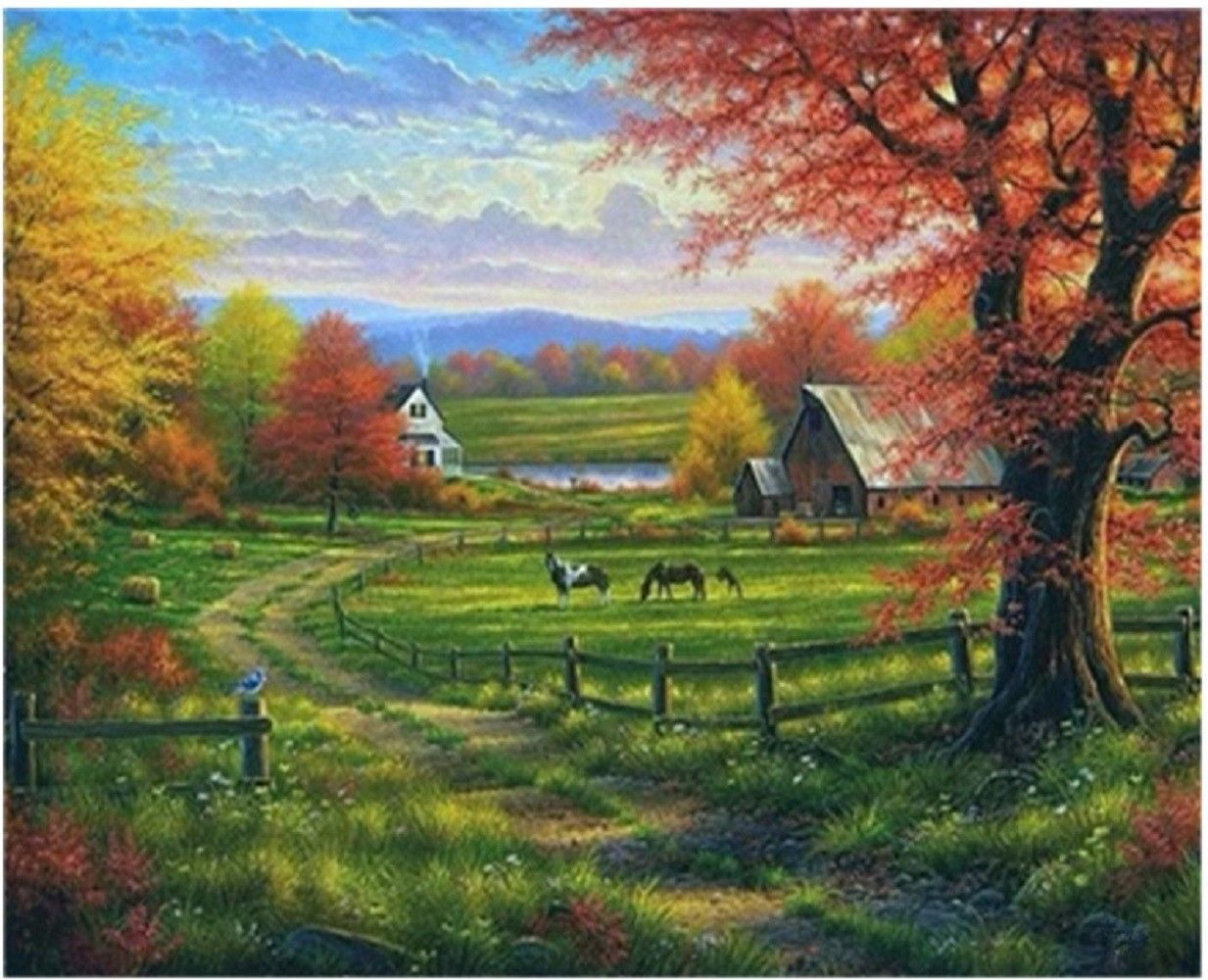 """Farm Landscape 16X20"""" Paint By Number Kit DIY Oil Painting on Canvas Frameless"""
