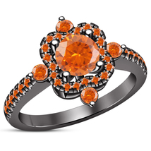 Orange Sapphire Black Gold Finish 925 Sterling Silver Women's Engagement... - ₨5,887.21 INR