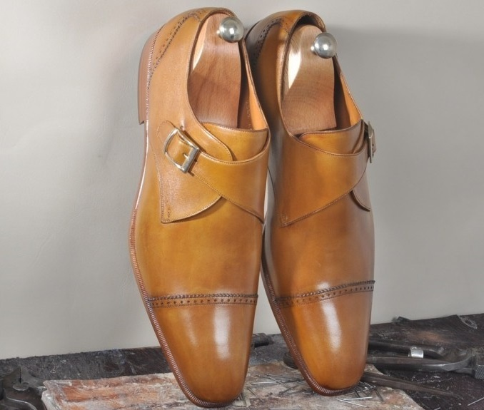 Handmade Men's Tan Leather Monk Strap Dress/Formal Shoesf