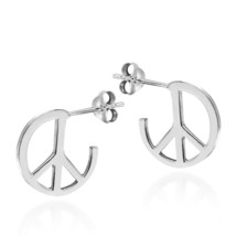 Summer Sale 925 Sterling Silver Round Peace Sign Stud Earrings For Gifts Sale - $29.43