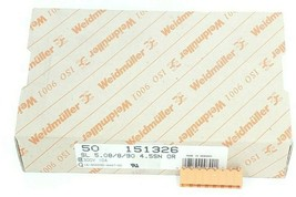 BOX OF 50 NEW WEIDMULLER 151326 CONNECTORS SL 5.08/8/90 4.5SN OR, 300V 10A