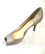 Marc Fisher Joey 3 Women 6M Multicolor Glitter D'Orsay Peep Toe Silver H... - $18.66