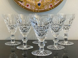 "Waterford Crystal Tramore Cut Claret Wine Glasses 5 1/4"" Set of 6 - $125.00"
