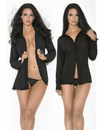 Escante Black Boyfriend Shirt with two front buttons size  Large Style 2... - $23.69