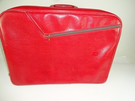 Vintage Red American Tourister ? Style Soft Carry On Luggage Train Bag Suitcase - $52.77