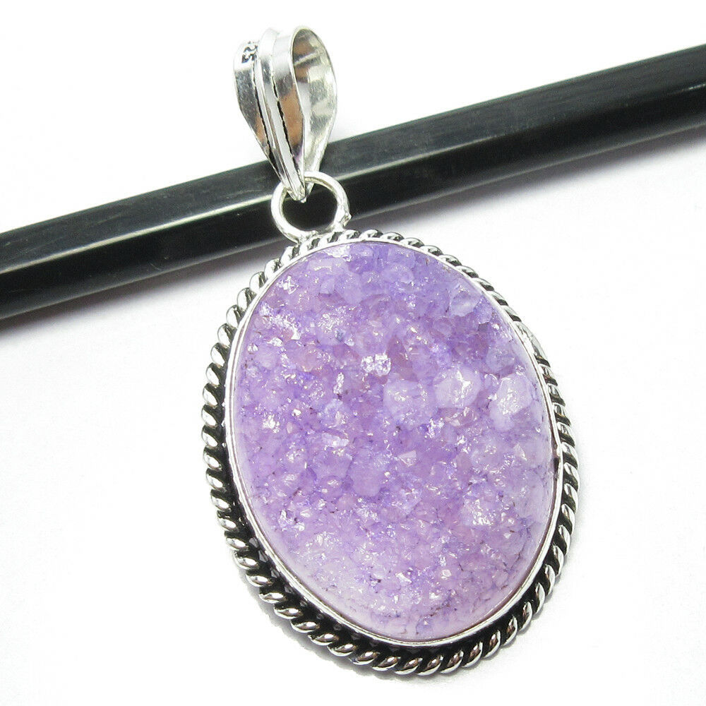 925 Silver Plated  pink druzy Pendant Chain Women   S0460