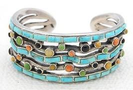 VTG Sterling Silver .925 Turquoise Onyx Coral Onlay Gemstone Cuff Bracelet 86g - $742.50