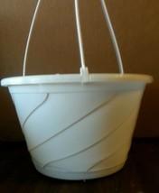 "10"" WHITE HANGING BASKETS {Set of 5} Plastic CONTEMPO SWIRL flower pots - $27.39 CAD"