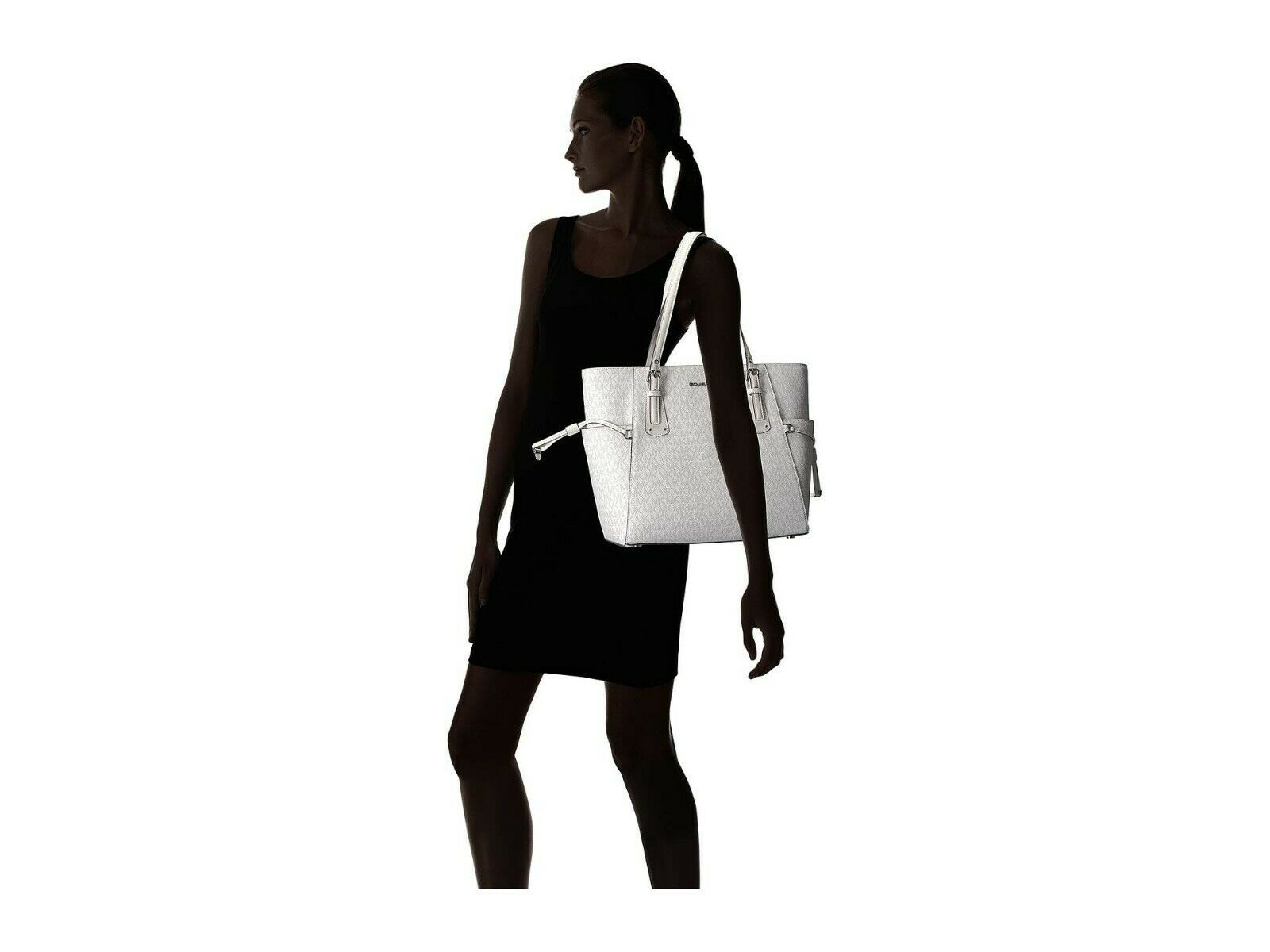 NWT MICHAEL KORS VOYAGER SIGNATURE EAST WEST TOTE BRIGHT WHITE image 10
