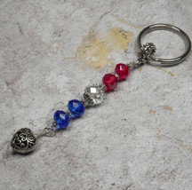 Crystal Heart Beaded Handmade Patriotic Keychain Split Key Ring Red Blue... - $14.54