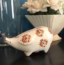 Vintage Piggy Bank Folk Art Style Ceramic Bridal Shower Gift Idea - $48.40