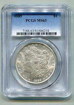 1889 MORGAN SILVER DOLLAR PCGS MS63 NICE ORIGINAL COIN FROM BOBS COINS F... - $69.00