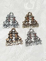 SISTERS FINE PEWTER PENDANT CHARM - 16x17x1.5mm