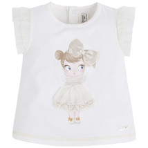 Mayoral Baby Girl 3M-24M Doll Applique Knit Top/Tee, Natural-Ivory