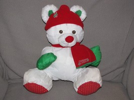 Puffalump Christmas Teddy Bear Plush 1991 Fisher Price VTG White Green R... - $28.21
