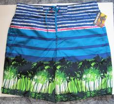 NWT Joe Boxer Swim Bathing Suit Trunks Shorts 4 Pockets Blue Green Palms... - $29.70