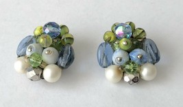 WEST GERMANY Signed Green Blue White Glass Bead Cluster Clip on Earrings... - $14.59
