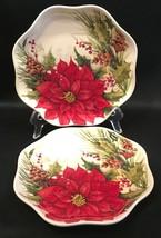 "2 Poinsettia Scalloped 8"" Salad Dessert Plates Cracker Barrel Christmas ... - $24.99"