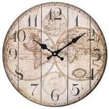 MDF Shabby Chic Vintage Map Wall Clock; 18 - $18.70
