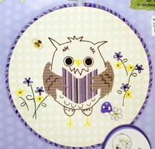 Beginner Stamped Embroidery Applique Forest Owl Kit Hoop Included New - $9.99