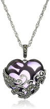 Sterling Silver Oxidized Genuine Marcasite and Amethyst Colored Glass Fi... - $152.01