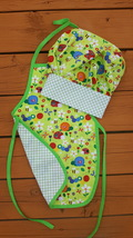 Handmade reversible apron and matching chef hat two in one apron chef co... - $59.99+