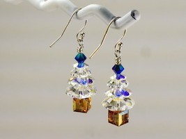Christmas Tree Earrings / made w/ Swarovski Crystals / Crystal/Blue/Gold/ .925 image 2
