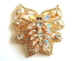 Gorgeous Vtg Rhinestone Butterfly Pin Aurora Borealis Crystal Dragonfly ... - $27.73