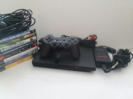 PS2 Playstation 2 Slim Console Bundle 8 Games 1 New Controller And 1 Mic... - $89.09