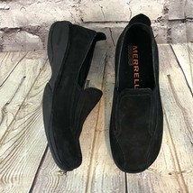 Merrell Primo Moc II Women SZ 6.5 Midnight Black Sued Slip On Loafers Flat Shoes - $33.18