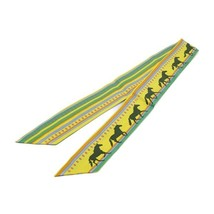 Hermes Tsuiri ribbon scarf multi-color Yellow Green Blue Auth - $282.79