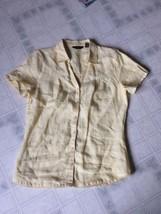 Eddie Bauer linen blouse size small Pale Yellow Button front Lace Edging - $16.83