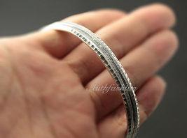 Mens Sterling Silver Bracelet Simple Graved Pattern Bangle Hip Hop Biker b26 image 3