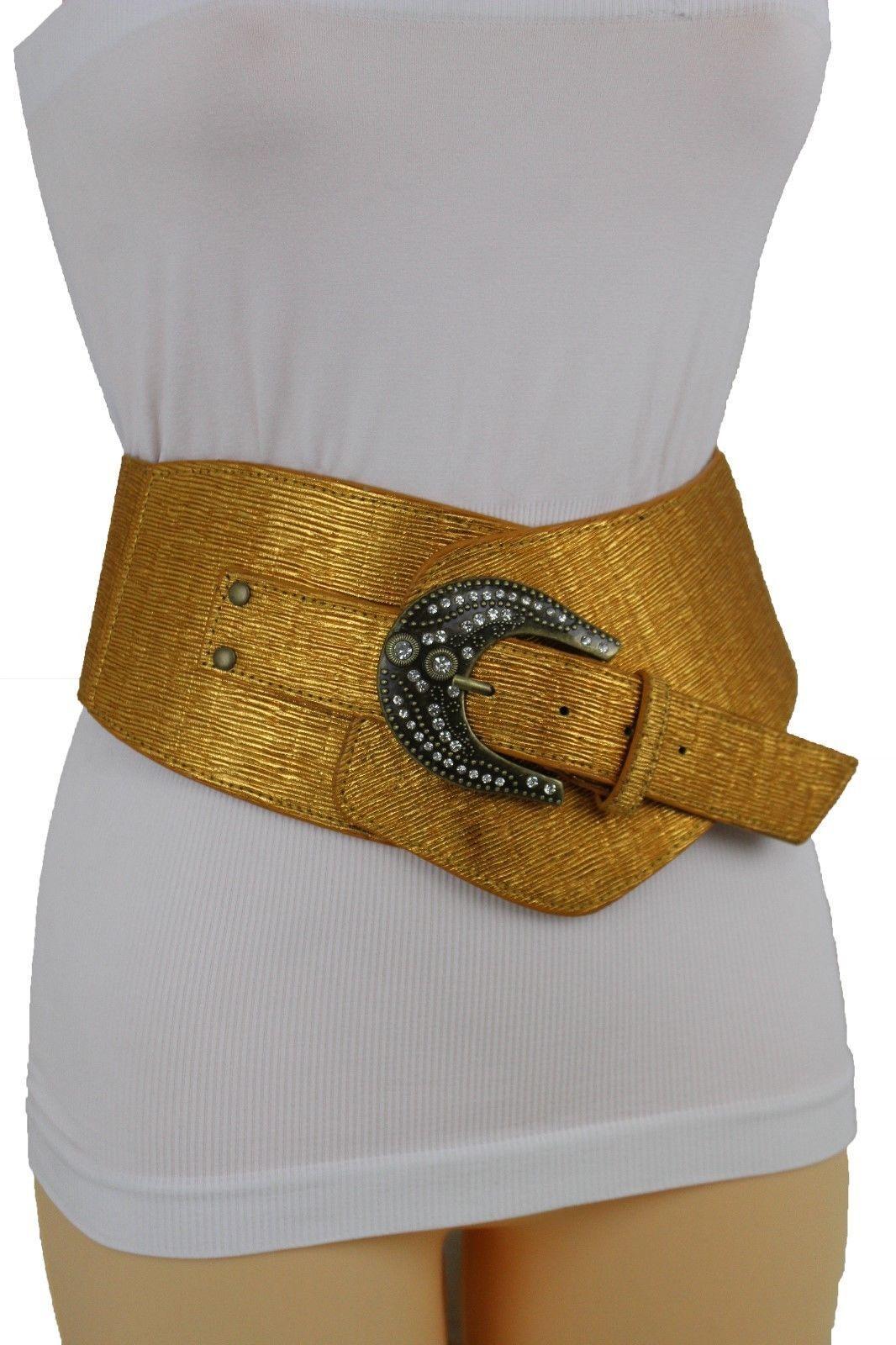 Sexy Damen Breites Band West Gürtel Hüfte Taille Metallic Gold Farbe Übergröße