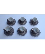 Antique Coffee Dinnerware Set of 6 Filigree Silver cups saucers Constant... - $705.25