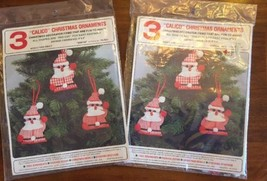 Vintage Felt Originals Calico Christmas Ornaments Santas FS 7531 Set 6 - $17.32