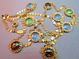"""Robert Verdi Bezel Set Crystal Necklace Gold Plated Links 46"""" Cushion Designer image 5"""