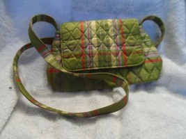 Vera Bradley silk collection in olive, red and tan small handbag - $13.50