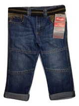 Wrangler Toddler Boy Premium Belted Slim Straight Denim Jean Size 2T New... - $12.86