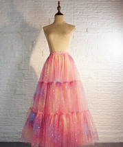 Rainbow Color Long Tulle Skirt Tiered Tutu Skirt Outfit Plus Size Layered Skirt  image 8