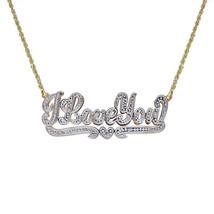 0.15 Carat Diamond 'I Love You' Shadowbox Nameplate Pendant 14K Two Tone Gold - $464.31